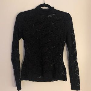 Long sleeve black lace top